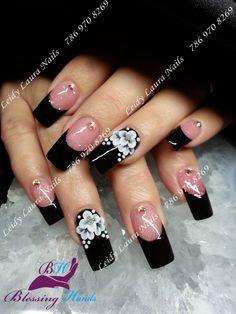 Natural Acrylic Nails, Best Acrylic Nails, Pretty Nail Art, Beautiful Nail Art, Square Nail Designs, Nail Art Designs, Flower Toe Nails, Long Nail Art, Chic Nails