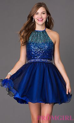 Love this dress for a sweet 16 winter wonderland birthday party! Short Blue Masquerade Halter Dress with Sequin Bodice at PromGirl.com