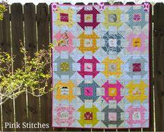 Pink Stitches: Texty Churn Dash Quilt