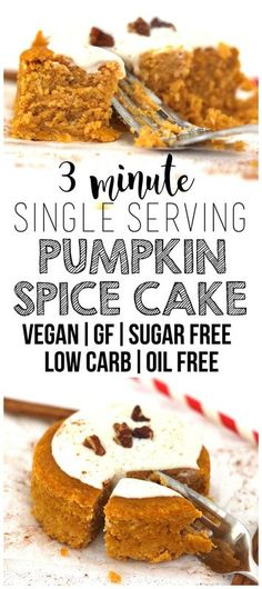 This Single Serving Pumpkin Spice Cake is AMAZING! Ready in 3 minutes and totally healthy. It's vegan gluten-free keto low-carb sugar-free dairy-free oil-free and sugar-free too! Spice Cake Recipes, Vegan Dessert Recipes, Vegan Sweets, Low Carb Desserts, Low Carb Recipes, Sugar Free Vegan Desserts, Cooking Recipes, Pumpkin Spice Cake, Vegan Pumpkin