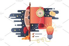 Startup business flat design by Kit8.net on @creativemarket