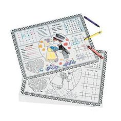 Fun Express Paper Wedding Children's Activity Placemats - 12 Pieces 12 Wedding Place Mats. Covered with fun activities, these place mats are a must-have for rehearsal dinners and wedding receptions. These 14″ x 11″ paper place mats have fun children's games to keep the little ones busy! Crayons not included.12 Wedding Place MatsCovered with fun activities, these place mats are a must-have for rehearsal dinners and wedding receptionsThese 14″ x 11&#824