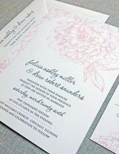 Felicia Pink Peony Wedding Invitation Sample