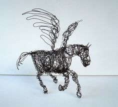 WINGED HORSE  Wire Horse Sculpture Pegasus by wireanimals on Etsy, $100.00