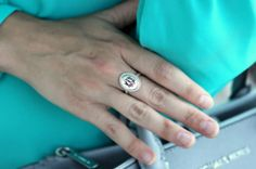 Braided Oval Monogram Ring in Sterling Silver