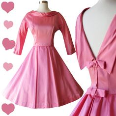 Vintage 50s Pink Full Skirt Dress with Bows S  3/4 length sleeves, collar batteau neckline, Low open v in back, pointed collar Double bows snap over metal zipper Fitted waist, full pleated skirt, approx calf length  Very Good Condition: No odors. Clean, smoke free home Minor small blemish between skirt pleat- see photo. Back of arm has 1 split- see photo. Blemish on back of other arm - see photo. Crinoline not included.  36 bust - 27 waist - free 60+ hips 16.25 bodice length - 40.5 full…