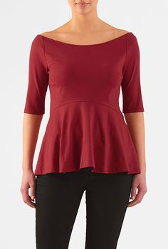I <3 this Wide boat neck cotton knit peplum top from eShakti