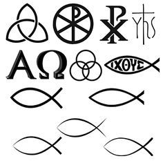 Several Christian symbols including the Chi Rho, trinity, triquetra (triqueta) The Monogram of Jesus, Alpha and Omega, Ichthus fish, and circle.