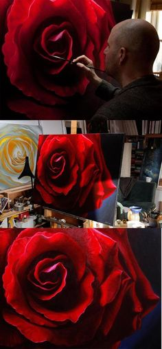 "Oil painting of a red rose, called ""Desire"", by Vincent Keeling Oil painting of a … Painting The Roses Red, Oil Painting Flowers, Oil Painting Abstract, Painting & Drawing, Painting Clouds, Roses Painting Acrylic, Realistic Oil Painting, Beautiful Paintings, Art Paintings"