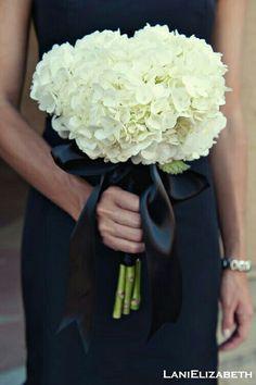 White Hydrangea Wedding Bouquet Hand Tied With Black Satin Ribbon