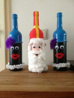 Sinterklaas is celebrated by the Dutch every year on the of December. Some believe Sinterklaas to be the origin of Santa Clause. Diy For Kids, Crafts For Kids, Diy And Crafts, Arts And Crafts, Kids Daycare, Wine Bottle Art, Saint Nicholas, Cricut, Art Lessons
