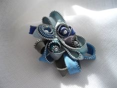 One Of A Kind Gift For Her Blue And Grey Zipper by handcraftusa