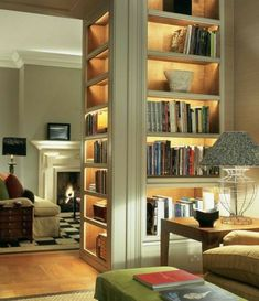Living Room Designs, Living Room Decor, Living Spaces, Living Rooms, Home Library Design, House Design, Room Interior, Home Interior Design, Bookcase Lighting