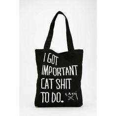 Handmade tote crafted from canvas by the gals at Catsi. Topped with sassy, cat-centric text-graphics we love. Great for groceries or just walkin' around town. …