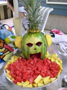 Tiki Fruit Tray - a different take on the puking pumpkin