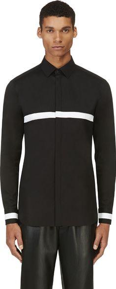 Neil Barrett - Black Contrast Stripe Shirt   SSENSE