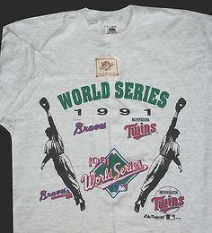 World Series Baseball 1991 Minnesota Twins Atlanta Braves T-shirt L New Vintage