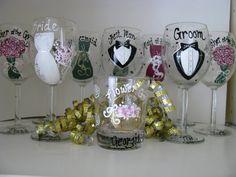 Wedding  Hand Painted Wine Glasses Personalized by ImGlassyEyed