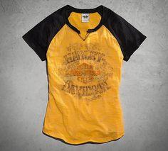 Women's Skull & Crossbones Raglan Tee | Tees | Official Harley-Davidson Online Store