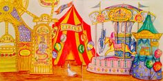 My Circus and Fairground from Romantic Country 3 - Eriy in Polychromos pencils.