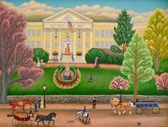 """Westport Town Hall Original by well-known US Folk Artist Kathy Jakobsen. One book she wrote is """"My New York: New Anniversary Edition"""" Lithos available of Main St., Westport. #westport http://www.westportrivergallery.com/2013/07/westport-scenes-by-folk-artists-bond-jakobsen.html"""