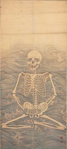 prettyskeletons: Skeleton Performing Zazen on Waves. Maruyama Okyo, ca. 1787.
