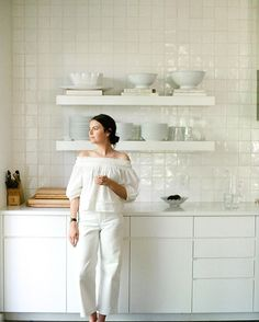 Maya's kitchen in Austin. Photo by @katelesueur #apieceapartwoman Kitchen Cabinets In Bathroom, Kitchen Backsplash, Kitchen Interior, Ikea Kitchen, Kitchen Pantry, Kitchen Design, High Gloss White Kitchen, Scandinavian Kitchen, Small White Kitchens
