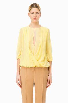 Blusa georgette con incrocio