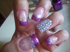 Fuchsia glitter nails - Nail Art Gallery by NAILS Magazine