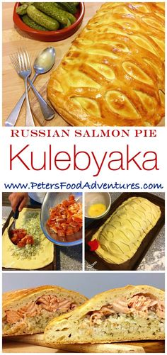 original Russian fish pie, baked with salmon and rice, all in an easy bread maker yeast dough recipe. Salmon Kulebyaka or Coulibiac (Кулебяка) Salmon Pie, Salmon And Rice, Ukrainian Recipes, Russian Recipes, Ukrainian Food, Fish Recipes, Seafood Recipes, Cooking Recipes, Torte