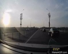 """Russian dashcam - A whole new meaning to """"crash landing"""""""