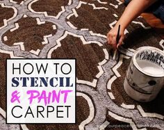 Upcycle an old carpet with a stencil and paint