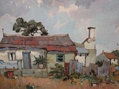 Building Painting, South African Art, Building Illustration, Farms, Buildings, Cottage, Inspire, Paintings, Artists