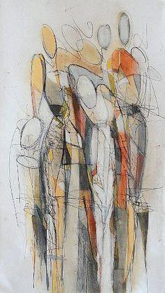 """Angela Fusenig, """"Komposition figürlich"""" Mit einem Klick auf """"Als Kunstkarte versenden"""" versenden Sie kostenlos dieses Werk Ihren Freunden und Bekannten."""