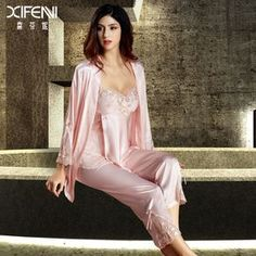 Cheap XIFENNI Imitación de Seda Pijamas de Las Mujeres de Tres Pedazos la ropa…