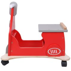 New Hessie 4 wheeled wooden Motor Toy  Sturdy construction Kids Baby Gift Red