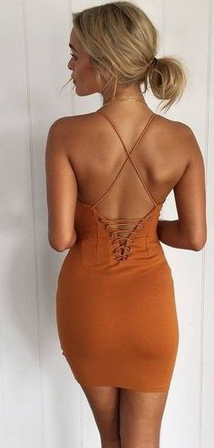 #summer #hot #weather #outfitideas | Lace Up Little Gold Dress