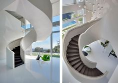 Amazing circular stairs in a Bel Air home. #stairs #interiors #architecture