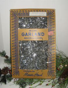 Vtg Manor House SILVER CHRISTMAS TINSEL GARLAND Made in Germany NIB Jordan Marsh