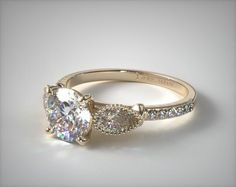 18K Yellow Gold Fanciful Fluted Pear Pave Engagement Ring   The center diamond of your choice is flanked by two fluted pear shape diamonds and a shimmering pave band.   Ring Style: 17965Y on JamesAllen.com. Click to view this ring in 360° HD.