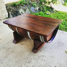 Wine barrel coffee table with recycled timber top that opens on hinges, made in Australia.  100% Upcycled and reclaimed wood.