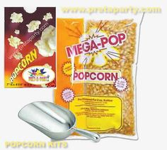 Popcorn kits available with our popcorn machine rentals Popcorn Machine Rental, Party Party, Party Supplies, Kit