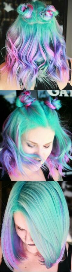 Found this via @makeupbyfrances Turquoise green purple dyed hair