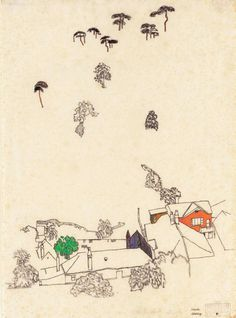 Houses and Pines - Mödling, Egon Schiele, 1915.