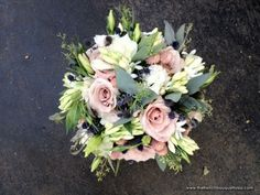 Summer Bouquet Filled with Roses, Lisianthus, White Hydrangea, Thistle, Pink Gomphrena, and Green Seeded Eucalyptus - The French Bouquet - Tulsa, Oklahoma Wedding Florals