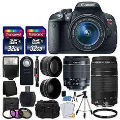 Amazon.com : Canon EOS Rebel T6 Digital SLR Camera with 18-55mm EF-S f/3.5-5.6 IS II Lens + 58mm Wide Angle Lens + 2x Telephoto Lens + Flash + 48GB SD Memory Card + UV Filter Kit + Tripod + Full Accessory Bundle : Camera & Photo