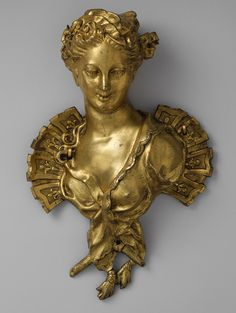 Female bust, second quarter of 18th century  French  Gilt bronze