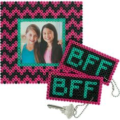 There's nothing like having a BFF to share your dreams and secrets and be your cheerleader. Show her how much she means with a cool photo frame and a keychain that matches one you keep for yourself. Designed By Karen Benvenuti. Bff, Craft Kits For Kids, Crafts For Kids, Diy Perler Beads, Diy Perler Bead Keychain, Beading For Kids, Peler Beads, Beads Pictures, Iron Beads