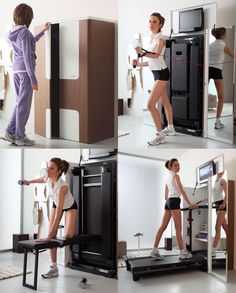 Great idea to hide gym equipment in office or bedroom furniture or built-ins - Keller - Home Gym
