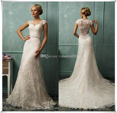 Wholesale Wedding Dresses - Buy 2014 Vintage Wedding Dresses Bit V Neck Short Capped Sleeve Sexy Sheer Back A Line Chapel Train Beaded Lace Bridal Gowns Amelia Sposa W-304, $156.44 | DHgate